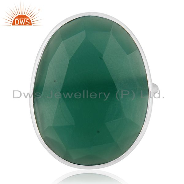 Green Onyx Gemstone 925 Sterling Fine Silver Cocktail Ring Manufacturers