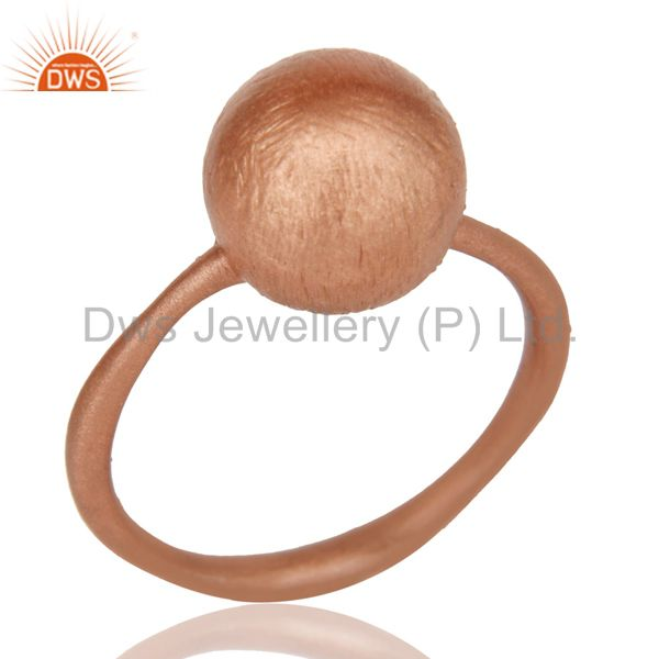 Brush Finished 18K Rose Gold Plated Sterling silver Stacking Ring