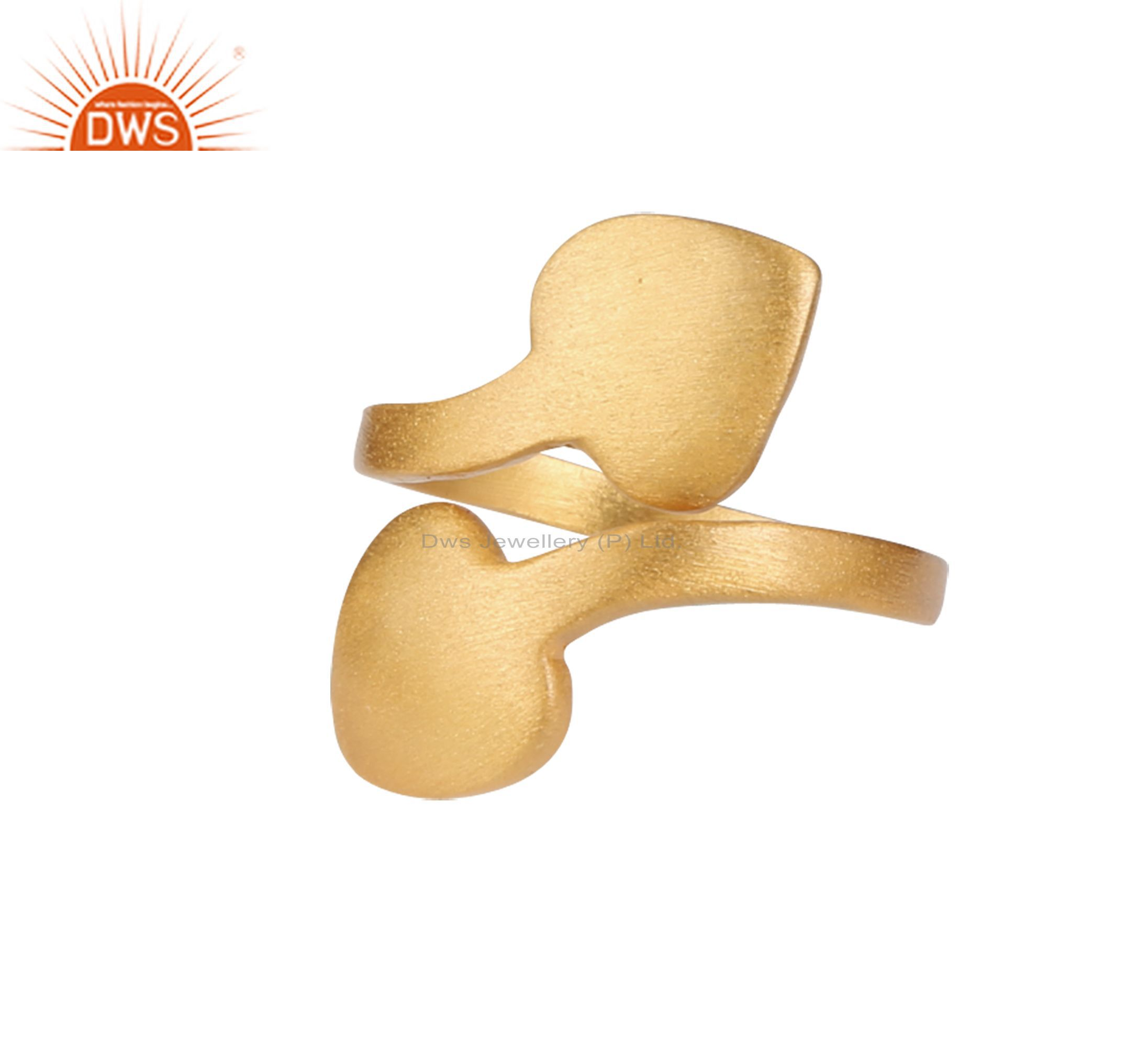 18K Yellow Gold Plated Sterling Silver Brushed Finish Heart Adjustable Ring