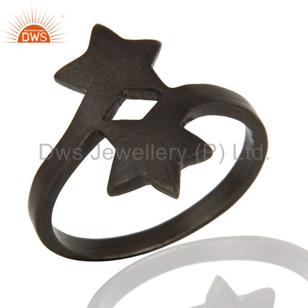 925 Solid Sterling Silver With Black Oxidized Double Star Statement Ring