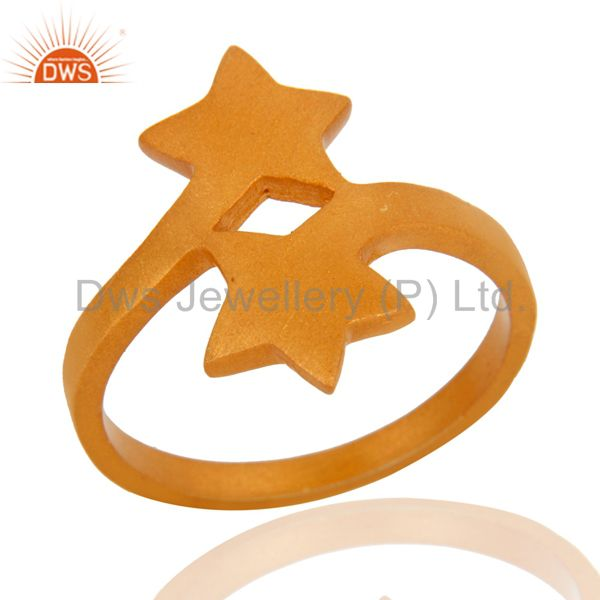 18K Yellow Gold Plated Sterling Silver Double Star Sign Stacking Ring