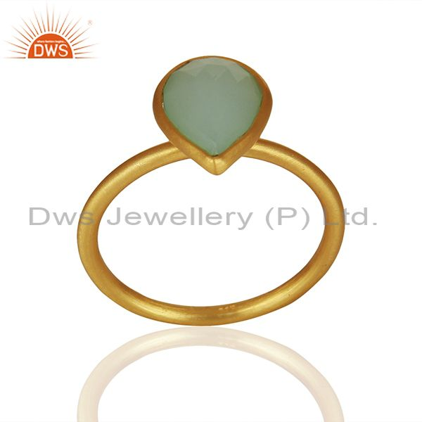 Solid 925 Silver Gold Plated Chalcedony Gemstone Rings Suppliers