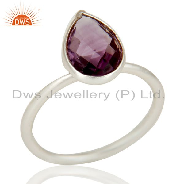 Solid 925 Sterling Silver Natural Amethyst Pear Shape Gemstone Stackable Ring