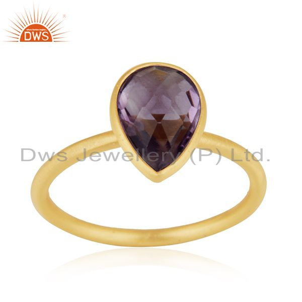 18K Yellow Gold Plated Sterling Silver Amethyst Bezel Stacking Ring