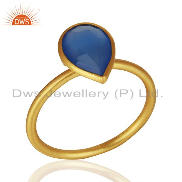 Blue Chalcedony Gemstone Gold Plated 925 Silver Stackable Ring Jewelry