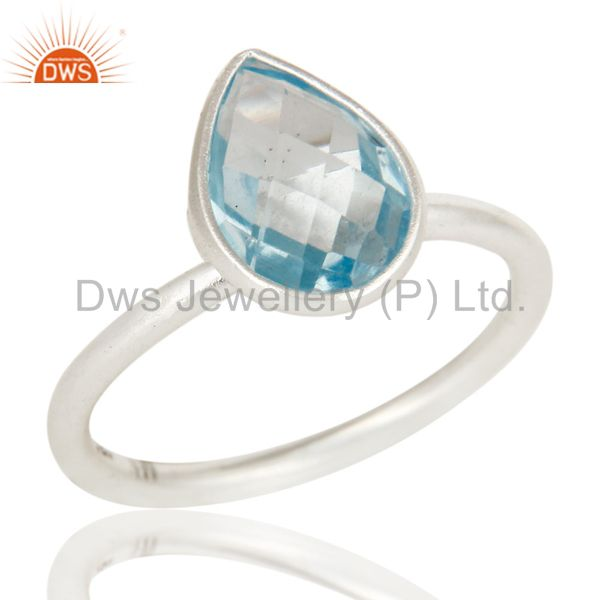 925 Sterling Silver Natural Blue Topaz Pear Shape Gemstone Stack Ring