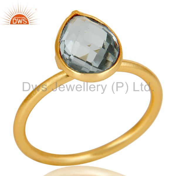 18k Gold Plated Sterling Silver Checkered Blue Topaz Pear Shape Gemstone Ring