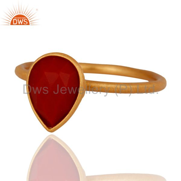 18K Yellow Gold Plated Sterling Silver Red Coral Bezel Set Stacking Ring