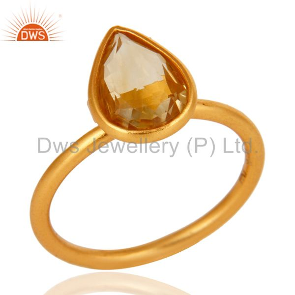 18K Yellow Gold Plated Sterling Silver Natural Citrine Gemstone Ring