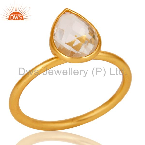18K Gold Plated 925 Silver Natural Crystal Quartz Pear Shape Gemstone Stack Ring
