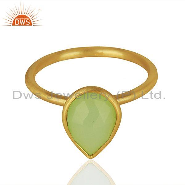 Prehnite Chalcedony Gemstone Gold Plated Silver Ring Jewelry Supplier