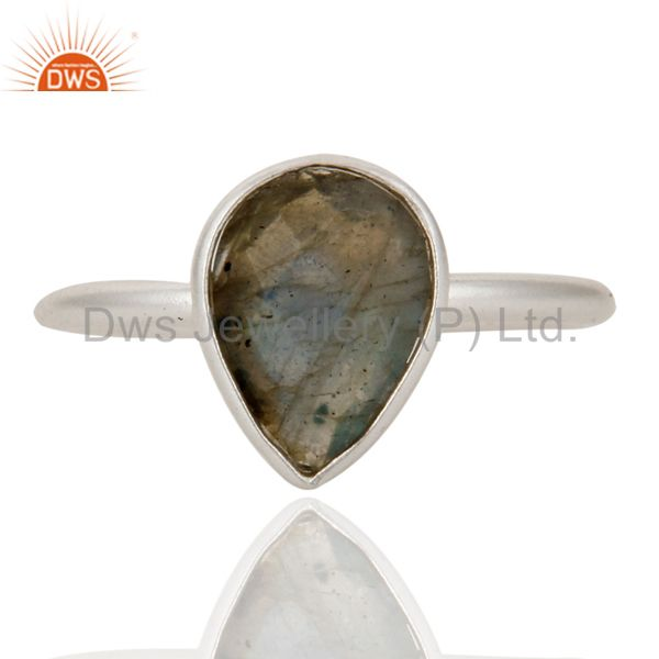 925 Solid Sterling Silver Labradorite Gemstone Bezel Set Drop Ring