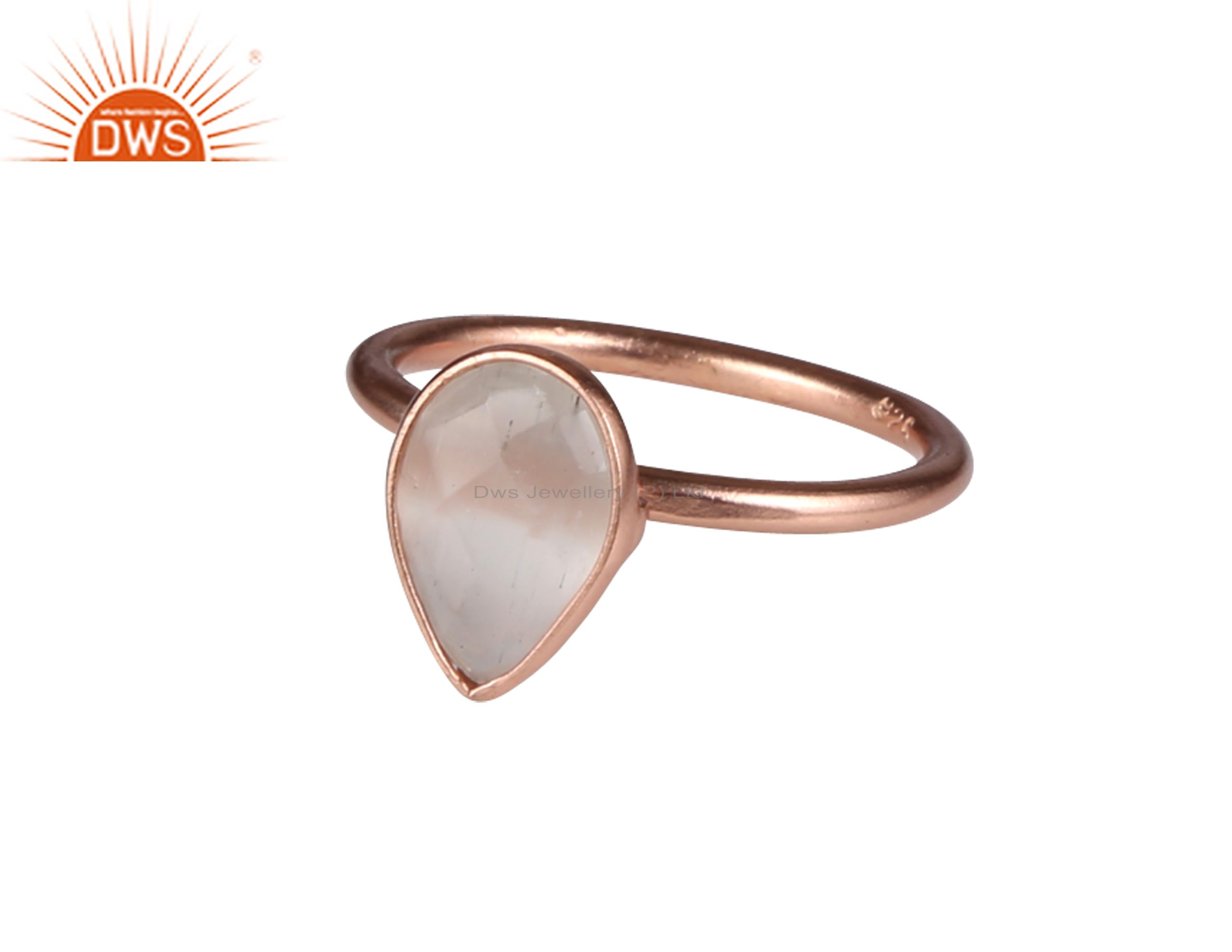 18K Rose Gold Plated Sterling Silver White Moonstone Bezel Set Drop Ring