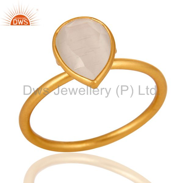 Shiny 18K Yellow Gold Plated Sterling Silver White Moonstone Bezel Set Ring