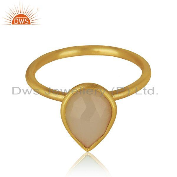 Yellow Gold Plated 925 Silver Rose Chalcedony Gemstone Ring Jewelry Manufacturer