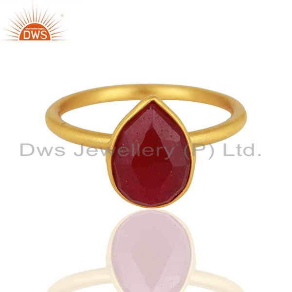 Ruby Red Gemstone Gold Plated 925 Silver Rings Jewelry Manufacturer