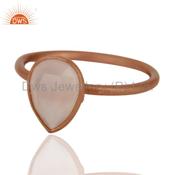 18K Rose Gold Plated Sterling Silver Rose Chalcedony Bezel Set Stacking Ring