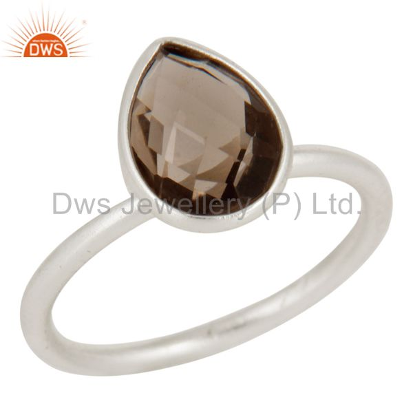 Natural Smoky Quartz Solid 925 Sterling Silver Stacking Ring