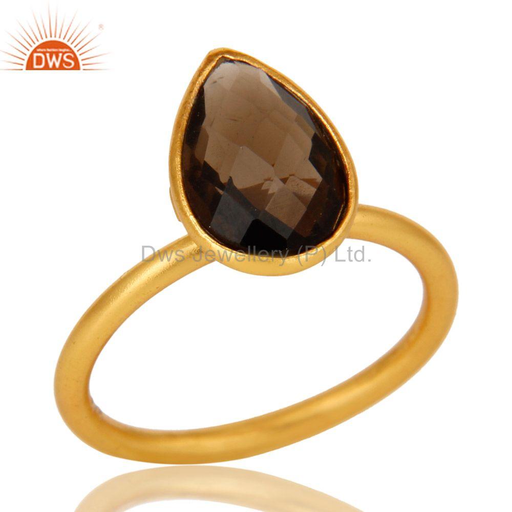 18K Yellow Gold Plated Sterling Silver Smoky Quartz Bezel Set Stackable Ring