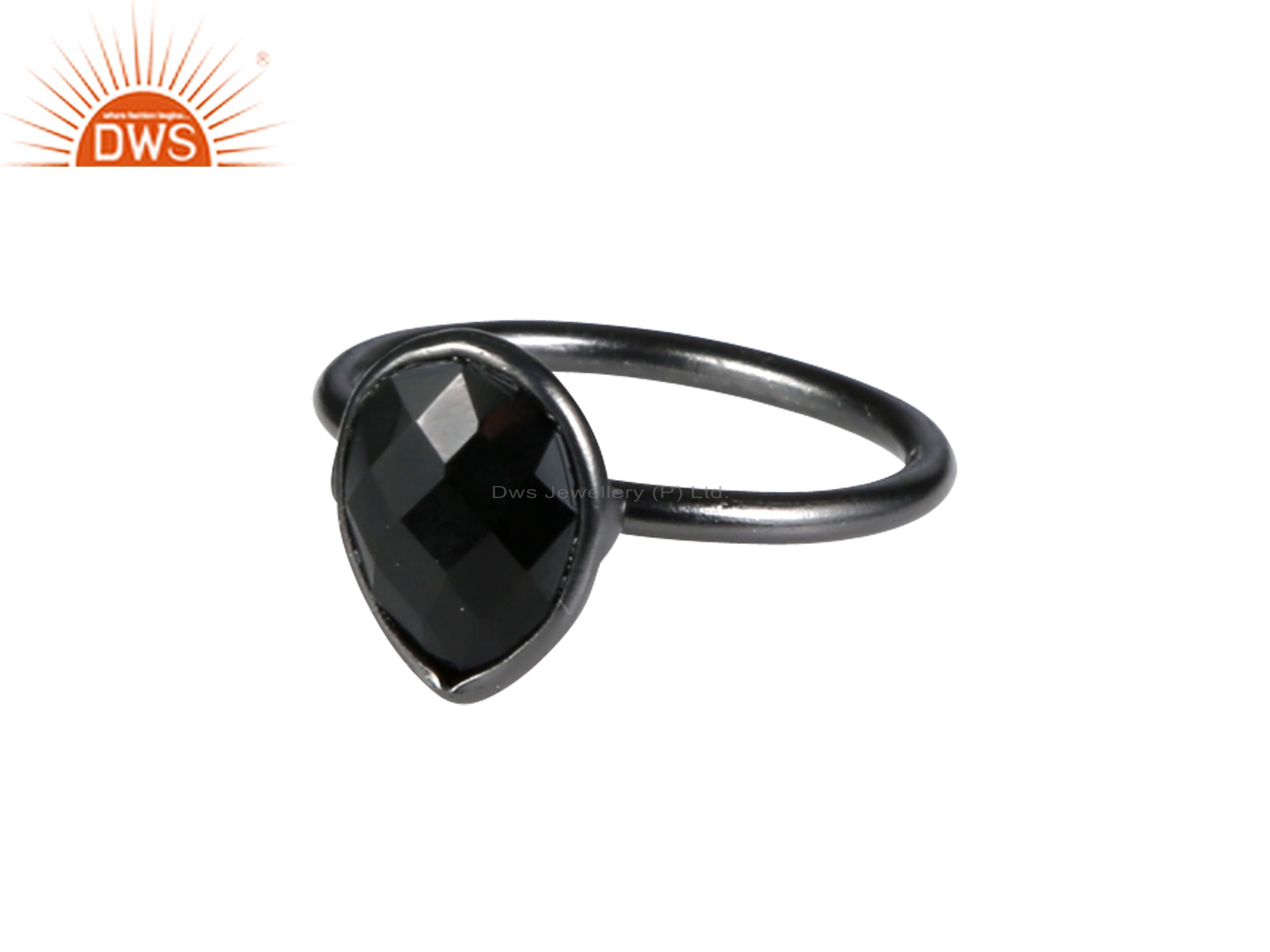 Oxidized Sterling Silver Faceted Black Onyx Gemstone Drop Stackable Ring