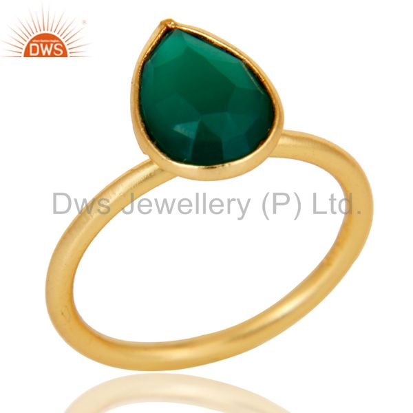 18K Yellow Gold Plated Sterling Silver Green Onyx Pear Stackable Ring
