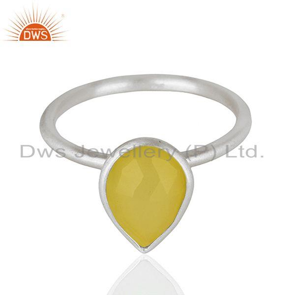 Wholesale 925 Sterling Silver Yellow Chalcedony Gemstone Ring Jewelry