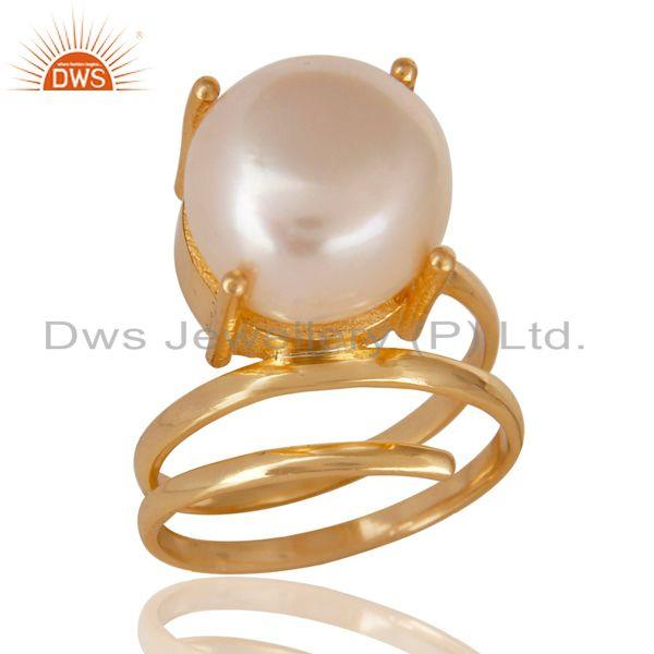 14K Yellow Gold Plated Beautiful Handmade Design Pearl Stackable Brass Ring
