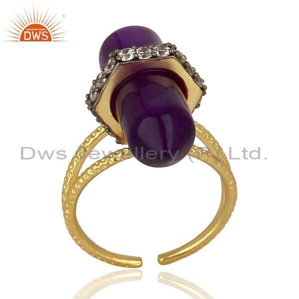 Amethyst And CZ Set Gold, Black On 925 Silver Classic Ring