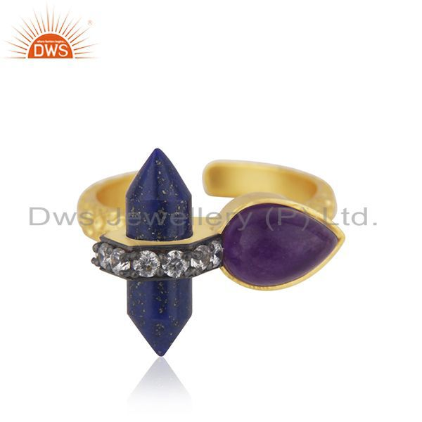 Gold Plated CZ Gemstone Gold Plated Fashion Rings Supplier Jewelry