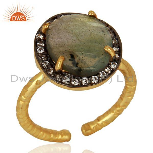 Labradorite Gemstone Gold Plated Silver Rings Jewelry Wholesale