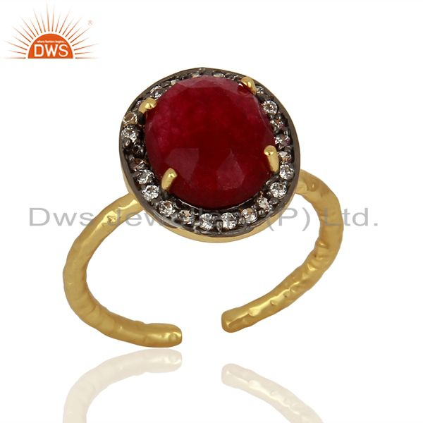 Red Avnturine Gemstone CZ Gold Plated Brass Fashion Ring Supplier