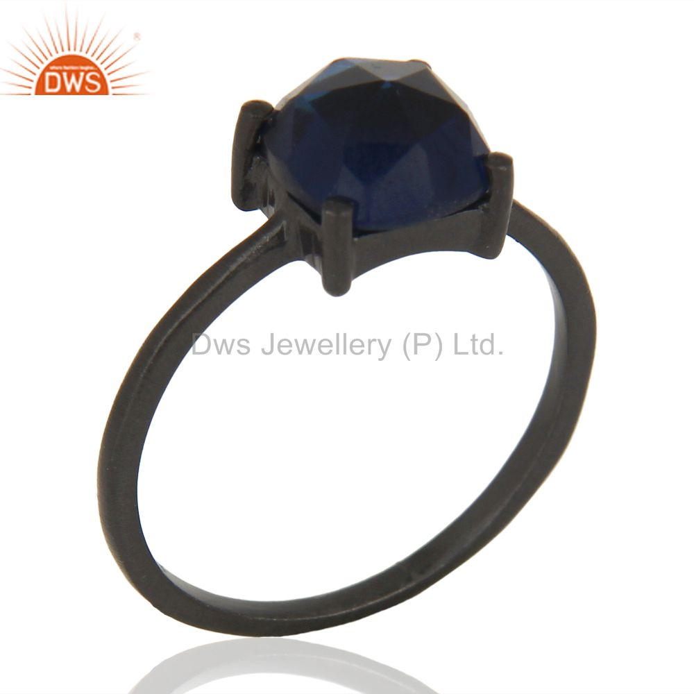 Blue Corundum Stackable Black Oxidized 925 Sterling Silver Ring Gemstone Jewelry