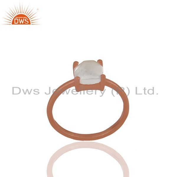 Handmade Rose Gold Plated Sterling Silver Crystal Rings Wholesale