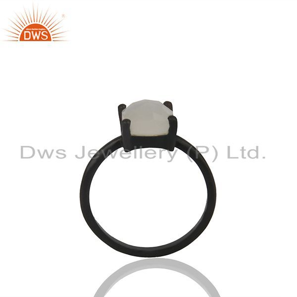 White Moonstone Black Rhodium Plated 925 Silver Rings Wholesale