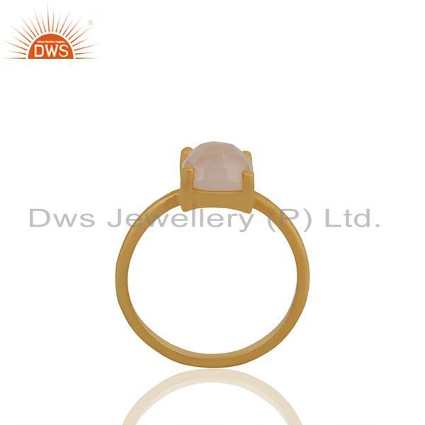 Rose Chalcedony Gemstone Gold Plated 925 Silver Rings Manufacturer