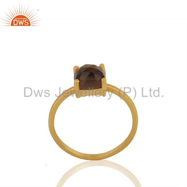 Smoky Quartz Gemstone 925 Silver Gold Plated Rings Manufacturers