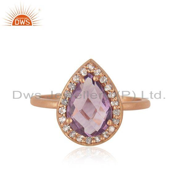 Rose Gold Plated 925 Silver Topaz Amethyst Gemstone Ring Jewelry