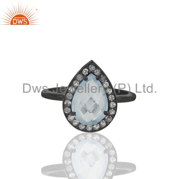 Blue and White Topaz Black Sterling 925 Silver Ring Manufacturer