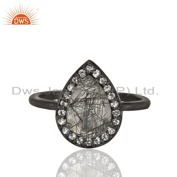 Black Rutile Quartz Gemstone 925 Sterling Silver Girls Rings Jewelry