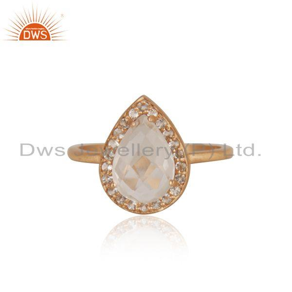 White Topaz and Crystal Quartz Rose Gold Plated Silver Ring Manufacturer India