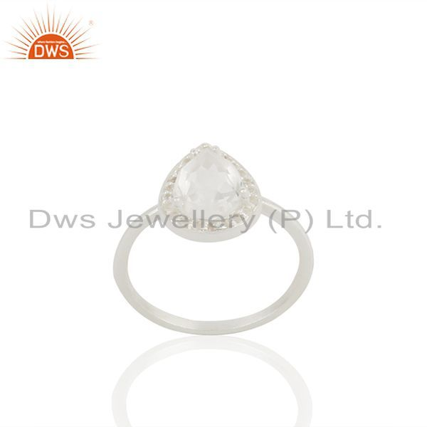 Clear Crystal and White Topaz 925 Fine Silver Ring Jewelry Wholesale