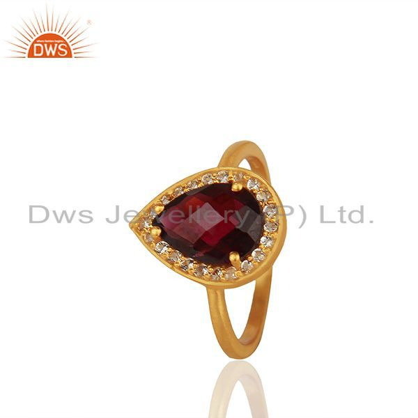 Natural Garnet and White Topaz Gemstone Gold Plated Silver Rings