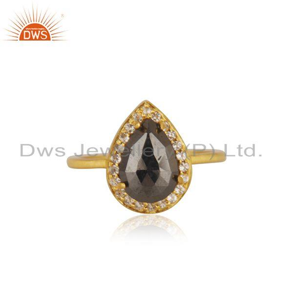 Hematite Gemstone Gold Plated 925 Silver Designer Ring Manufacturer India