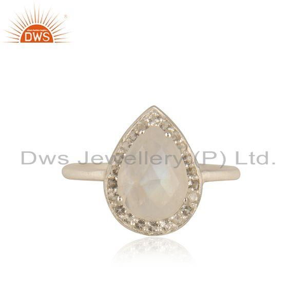 Rainbow Moonstone Fine 925 Sterling Silver Ring Manufacturer india