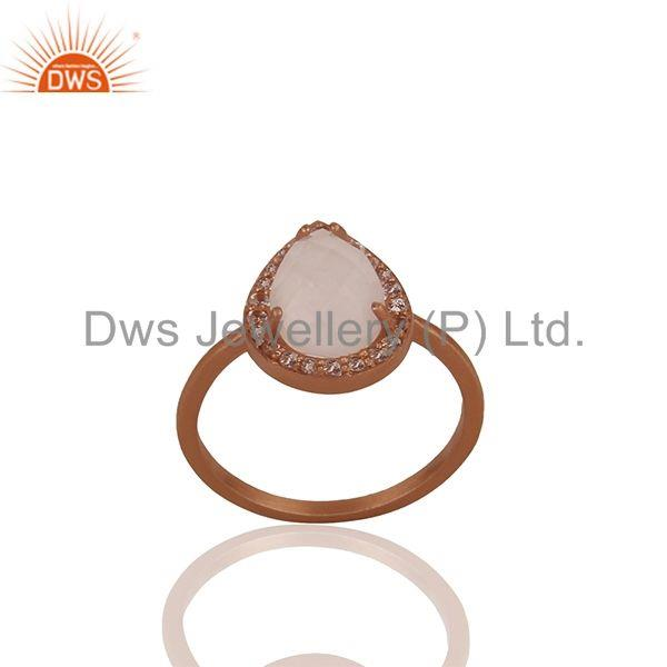 Rose Gold Plated Sterling Silver Rose Quartz Gemstone Ring Supplier