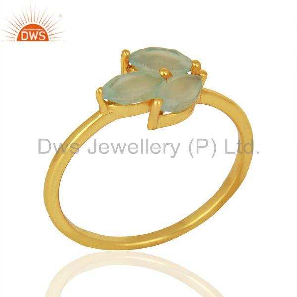 Leaf Designer Gold Plated 925 Silver Aqua Chalcedony Gemstone Rings