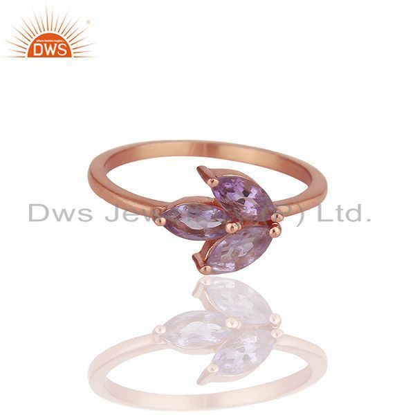 Handmade Rose Gold Plated 925 Silver Amethyst Gemstone Rings Jewelry