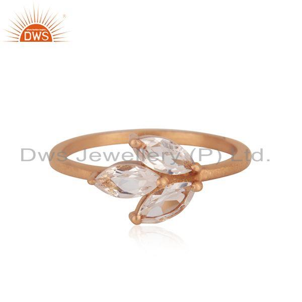 Leaf Rose Gold Plated Silver Crystal Quartz Gemstone Ring Jewelry
