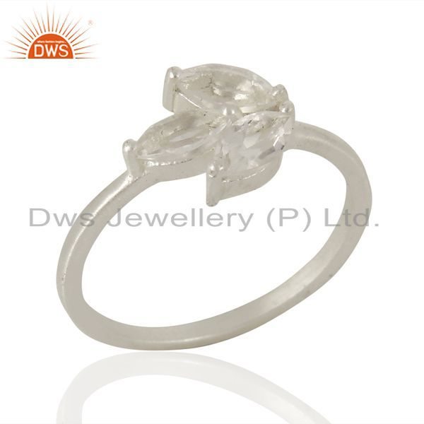 Crystal Quartz Prong Set 925 Sterling Silver Ring Gemstone Jewelry