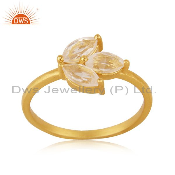 Crystal Quartz Stone 14k Gold Plated 925 Silver Designer Ring Manufacturer